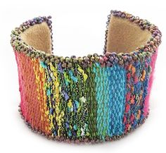 Tapestry/Bead Cuff Bracelet by Claudia Chase for Mirrix Looms