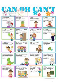 Easy worksheet to practice can and can't. Simple reading for beginners. Illustrated to make the grammar practice more fun. English Activities For Kids, English Grammar For Kids, Learning English For Kids, English Worksheets For Kids, English Lessons For Kids, English Games, Teaching English, Learn English, Verbo Can