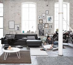 Masculine interior design doesn't mean rough or un-evolved. Find design tips and images to help you create a spectacular and creative masculine interior. My Living Room, Home And Living, Living Spaces, Living Area, Scandinavian Living, Scandinavian Design, Masculine Interior, Loft Style, Living Room Designs