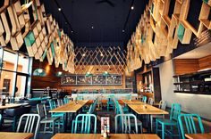 nandos restaurant ashford by blacksheep - The Nando's Restaurant Ashford by Blacksheep is located south east of London, England. The chain restaurant is known for its texture, color . Nando's Restaurant, Design Bar Restaurant, Southern Restaurant, Restaurant Interiors, Local Commercial, Commercial Design, Cafe Interior, Best Interior, Interior Ideas