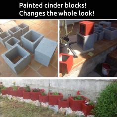 Unique/different flower bed pots made from painted cinder blocks.