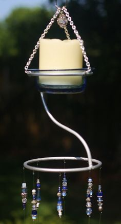 """Unique Candle Holder Wind Chime  - """"Twilight""""  Made From Stained Glass, Up-Cycled Metal Piece, Beads, Crystals, Indoor/Outdoor OOAK Chime"""