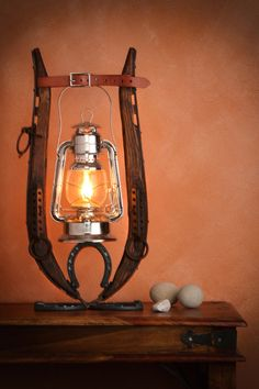 Horse Hames and Horse Shoes Oil Lantern