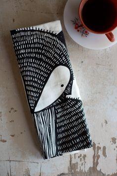 Illustrated Fox tea towel by Gingiber; folded