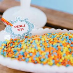 ice cream party rainbow sprinkles and baroque labels