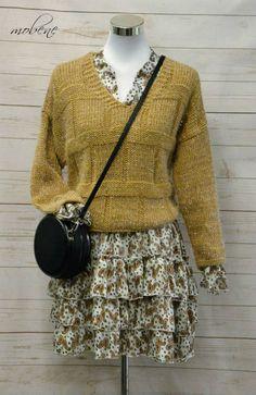 Kleidchen mit Strickpulli - perfekt für den goldenen Herbst Overall Jumpsuit, Lace Skirt, Girls, Tops, Fashion, Sequin Shirt, Occasion Dresses, Two Piece Outfit, Little Dresses