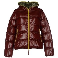 Duvetica Down Jacket (390 CAD) ❤ liked on Polyvore featuring outerwear, jackets, coats, jacket's, cocoa, multi pocket jacket, red down jacket, red jacket, single breasted jacket and red quilted jacket