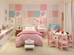 A gorgeous room for girls in any color with white. Easily updated as the pre-teen/teen years approach...