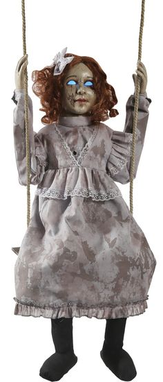 Add some creepy decor to your Halloween when you bring home the Swinging Decrepit Doll! This creepy prop features an infra-red sensor, hollowed out eyes that glow an other-worldly blue, and speaks hau