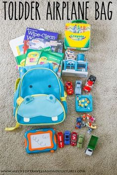 Traveling with a toddler is always an adventures. We used the items in this travel bag on two flights and during a 6 day vacation to keep our toddler happy and entertained.. Flying With A Toddler, Toddler Fun, Toddler Activities, Kids Travel Activities, Toddler Busy Bags, Road Trip Activities, Toddler Toys, Traveling With Baby, Travel With Kids