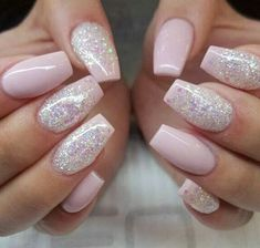 pink and pink glitter coffin nails for a cute glam look