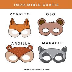 Printable animal masks - Elsa Santander - Animal masks for . Squirrel Costume, Printable Animal Masks, Fairy Baby Showers, Bear Cookies, One Banana, Easy Craft Projects, Fiesta Party, Woodland Party, Safari