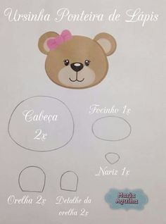 Cabeça ursa Felt Crafts, Diy And Crafts, Paper Crafts, Felt Patterns, Applique Patterns, Sewing Toys, Baby Sewing, Felt Flowers, Paper Flowers
