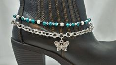 Boot Bracelet Jewelry Bling Anklet Chain Teal Czech Glass Crystal Beads Black Silver Butterfly Charm