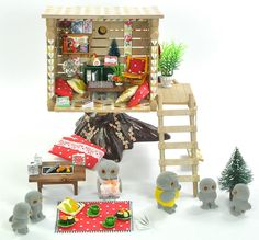 *fistuff* Sylvanian Families Xmas Decorated Vintage Tree House Furniture + Owls