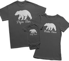 Set of 3 Tees T-Shirts T Shirt Tee Ladies Mens Daddy Mommy Mom Dad Baby Toddler Papa Bear Mama Mother Father Gifts Present Baby Shower New Mom Dad Baby, Mom And Dad, Baby Boys, Family Outfits, Boy Outfits, Mama Bear Shirt, Everything Baby, Baby Time, Family Shirts