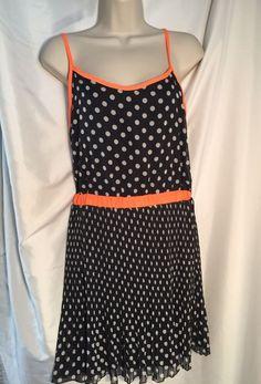 949fe8602fce Details about Ruby Rox Dress Junior 9 Navy Poka Dot Sundress Open Back  Orange Trim