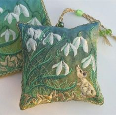 Snowdrops and Mouse by Pauline Thomas (11)sq Lavender Bags, Home Crafts, Woodland, Embroidery Designs, Pouch, Colours, Creative, Green, Gold