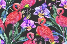 Watercolor pink flamingos pattern  @creativework247
