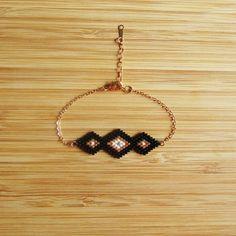 Items similar to Maya bracelet black & gold hand stitched Miyuki glass beads gold plated on Etsy Seed Bead Jewelry, Bead Jewellery, Bead Earrings, Beaded Jewelry, Jewelery, Bracelets Diy, Thread Bracelets, Bead Loom Bracelets, Peyote Beading Patterns