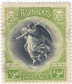 Barbados stamp, 'Winged Victory' half-pence (1/2d) value, issued in 1919 following The Great War