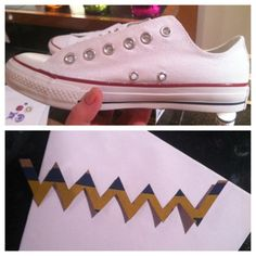 Glitter paint, Converse and chevron pattern.  My new favorite blog.  She seriously needs to sell these, I would totally buy a pair!