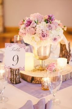 Lilac centerpiece for reception - rustic elegance
