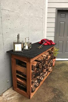 Easy and Creative DIY Firewood Rack and Storage Ideas tag: outdoor firewood rack ideas, firewood storage rack ideas, indoor firewood rack ideas, firewood rack cover diy, ideas for firewood rack. Indoor Firewood Rack, Cheap Firewood, Firewood Shed, Storage Design, Storage Ideas, Storage Rack, Storage Solutions, Diy Storage, Kitchen Storage
