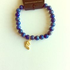 NWT blue agate bracelet with feather charm Brand new Jewelry Bracelets
