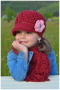 ++ Lenia ++ Set mit Dachmütze und Schal und Blüte ab 34-57 Puppe/Newborn - Erwachsene, Newsgirlhat