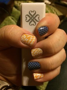 """Jamberry Nail Wraps - """"Sunny Lotus"""" with two """"Navy Quatrefoil"""" accent nails!"""
