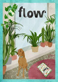 #Flowinitaliano: watercolor animated gif #dog #segugio #terrace #gardening #giorgiabressan #gucki