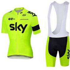 bfc0be4b4 2016 fluorescent green sky cycling jersey team with loop clothes quick dry  gel pad cycling wear chinese-style chest covering