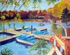 Pullen Park, Raleigh, NC, painted by Larry Dean. Raleigh isn't just a business triangle. Go with your kids! Click through to my TripAdvisor list.