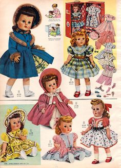 1956 Sears Christmas Catalog by Wishbook - Gramma made all my dolls clothes, I still have them. Have 2 dolls like this with lots of cute clothes she made. Christmas Past, Christmas Books, Vintage Christmas, Old Dolls, Antique Dolls, Vintage Dolls, Vintage Advertisements, Vintage Ads, Vintage Paper
