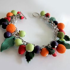 Mixed Fruits Bracelet Polymer Clay by beadscraftz on Etsy