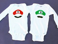 Mario and Luigi SUPER MARIO BROTHERS Twin Bodysuits. by PropMama, $40.00