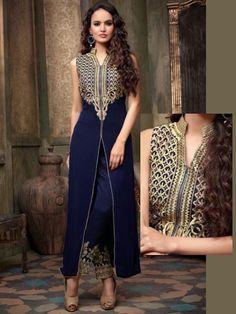 Exclusive navy blue color #Georgette #Kameez with embroidery work. Item code : SLEB17714A  http://www.bharatplaza.com/new-arrivals/salwar-kameez.html