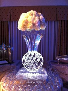 Ice sculpture with gorgeous hydrangeas at the top