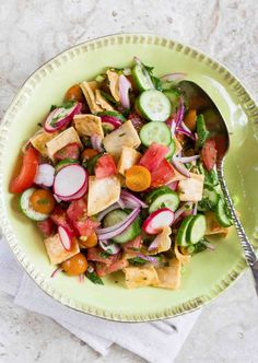 Fattoush Bread Salad ~ Easy Middle Eastern fattoush! Crispy pita chips, fresh vegetables, and a tangy dressing. 30 minutes. ~ SimplyRecipes.com