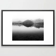 Black And White Minimal Mountain Lake Landscape Framed Art Print by joshuasmallphotography | Society6 Framed Wall Art, Framed Art Prints, Minimalism, Mountain, Wall Decor, Tapestry, Black And White, Landscape, Nature