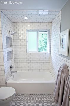BM's Half Crest Moon gray paint, white subway + gray grout, penny tile floor