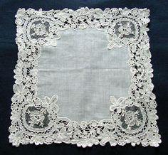 antique point de gaze lace hanky c.1860 antiquelinen.com