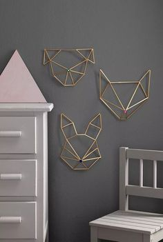 Himmeli DIY wall ornament in golden brass straw rabbit form