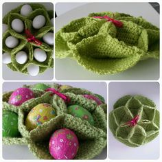 Vintage crochet egg holder/basket. Rose basket. This is genius. NO MORE EASTER GRASS!!!!!