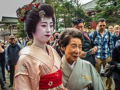 The legendary Yuko nee-san, Asakusa's (and Japan's) oldest geisha, still performing at 92! Here with her granddaughter, Chihana-san.  #Asakusa, #Yuko, #Chihana #geisha March 18 2015 © Grigoris A. Miliaresis