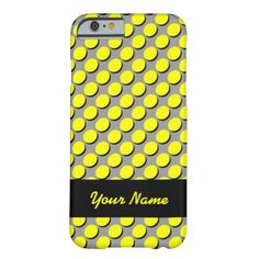 Trendy iPhone Case with Shadow Polka Dots, Yellow & Black on Gray; shadows give a 3-D effect; personalize with your name in yellow on the black ribbon label. Select CUSTOMIZE to choose your case from a number of iPhones, iPads, or other phone brands
