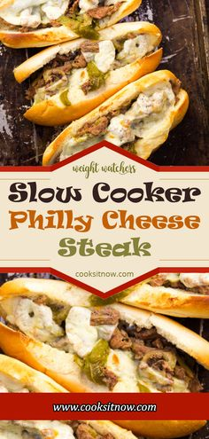 Slow Cooker Philly Cheese Steak Sandwiches that are so tender and flavorful you'll feel like you're in Philly. Perfect for a crowd! Crockpot Steak Recipes, Steak Sandwich Recipes, Steak Sandwiches, Crockpot Recipes, Philly Cheese Steaks, Slow Cooker Philly Cheese Steak Recipe, Steak Casserole, Cheesesteak Recipe, Slow Cooked Meals