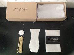 Groom set bow tie , pocket square, lapel pin and shoe laces dapper box/ pocket square box by TieFetish on Etsy