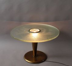 For Sale on - Fine French Art Deco illuminated gueridon/center table made with a conical metal base supporting a Saint Gobain glass slab top with a center prismatic Art Deco, Center Table, Shabby Chic, Metal, Glass, Deco, Drinkware, Corning Glass, Metals